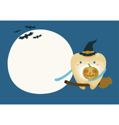 Tooth with pumpkin in moon night on halloween vector image