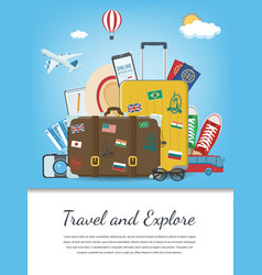 Travel composition with travel equipment travel vector
