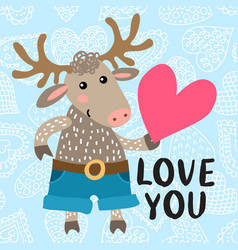 Valentine s day greeting card with deer vector