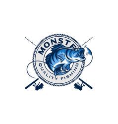 vintage fishing badges logo emblem labels vector image