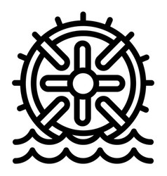 water wheel energy icon outline style vector image