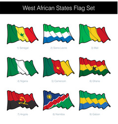 West african states waving flag set vector