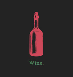 wine bottle hand drawn vector image