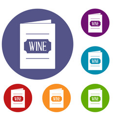 Wine list icons set vector