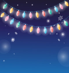winter background with garlands lamps vector image