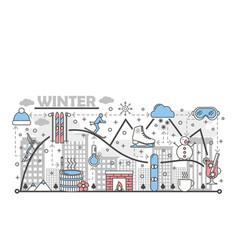 Winter fun flat line art vector