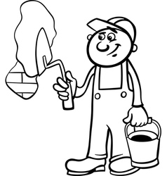 Worker with trowel coloring page vector
