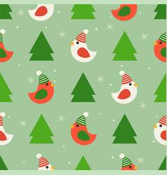 xmas bird and pine tree christmas seamless vector image