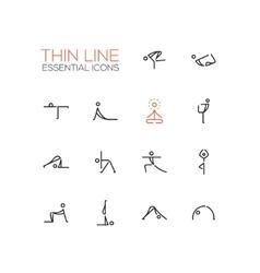Yoga Poses - Thin Single Line Icons Set vector image