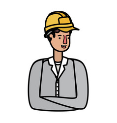 young man builder avatar character vector image