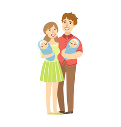 Young parents holding newborn twins in arms vector