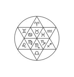Zodiacal circle yin and yang zodiac signs vector