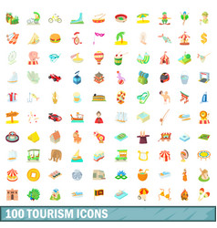 100 tourism icons set cartoon style vector image