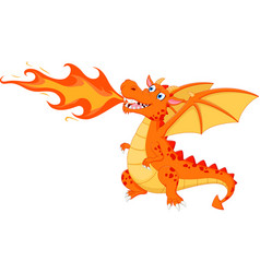 Angry dragon with fire vector
