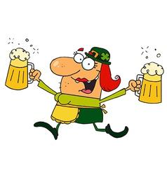 Female Leprechaun Running With Beers vector image