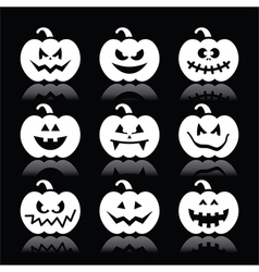 Halloween pumpkin icons set on black vector image vector image