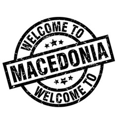 welcome to macedonia black stamp vector image vector image