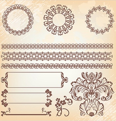 collection of ornate page decor elements borders vector image vector image