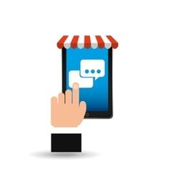 e-commerce concept hand holding smartphone bubble vector image