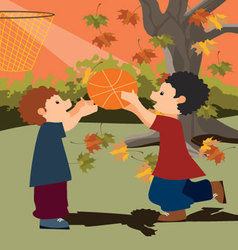 kids-playing-basketball vector image