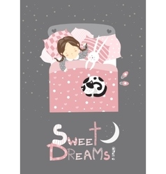 Little girl sleeping with cat vector image vector image
