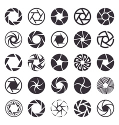 Camera shutter icons set vector image vector image