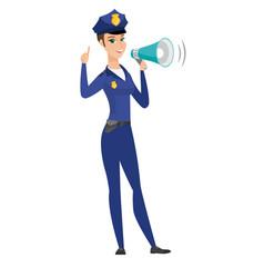 caucasian police woman talking into loudspeaker vector image vector image