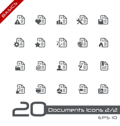 Documents Icons Basics vector image vector image