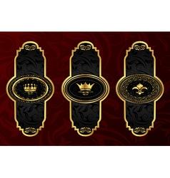 set gold vintage labels with design elements - vector image