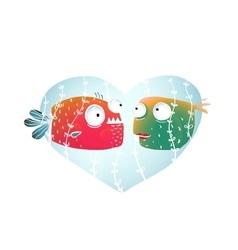 Underwater cartoon fish in love with blue heart vector