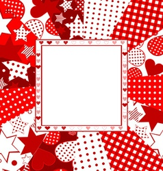Valentine celebration card with hearts stars and vector image