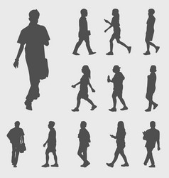 walk silhouettes vector image vector image