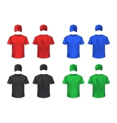 Basebal Cap And Tshirt Colored Sets vector image