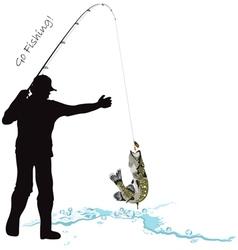 Fishing fisherman and pike vector image vector image