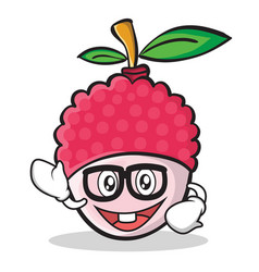 geek face lychee cartoon character style vector image