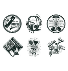 monochrome cleaning company logos set vector image vector image