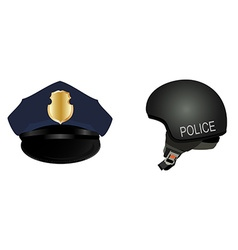 Police hat and helmet vector image vector image