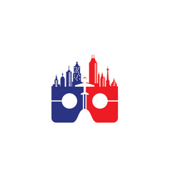 vr logo with skyscrapers design with plane vector image