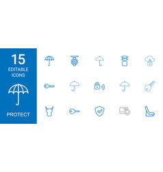 15 protect icons vector image