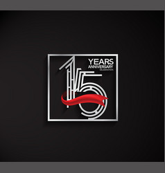 15 years anniversary logotype with square silver vector