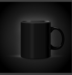 3d realistic dark mug isolated on black vector image