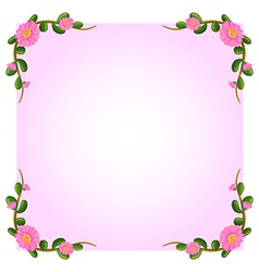 A light pink empty template with flowers vector image