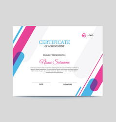 abstract pink purple and blue certificate design vector image