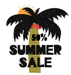 Advert card with lettering 50 summer sale wit palm vector