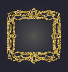 art nouveau gold glitter decorative rectangle vector image
