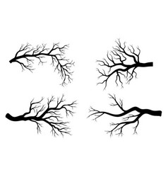Bare branch winter set design isolated on white vector