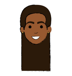 beautiful black woman head avatar character vector image