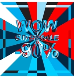 Big ice sale poster with WOW SUPER SALE MINUS 90 vector image