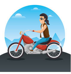 biker culture bikers riding motorbikes vector image