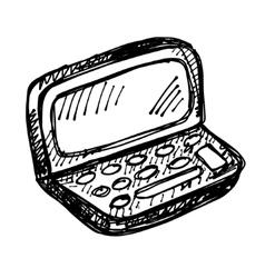 black sketch drawing of notebook vector image